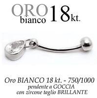 Piercing Ombelico Belly Oro Bianco 18kt.pendente Goccia Zircone Taglio Brillante -  - ebay.it