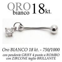 Piercing Ombelico Belly Oro Bianco 18kt.pendente Griff 4 Punte Zircone Brillante -  - ebay.it