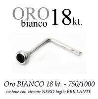 Piercing Naso Nose Oro 18kt. Con Zircone Nero Taglio Brillante White Gold -  - ebay.it