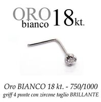 Piercing Naso Nose Oro Bianco 18kt. Griff Con Cubic Zirconia White Gold 18kt. -  - ebay.it