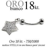 Piercing Ombelico Belly Oro Bianco 18kt.pendente Stella Zirconi Taglio Brillante -  - ebay.it