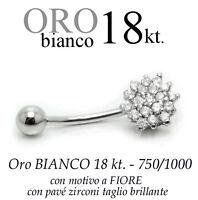 Piercing Ombelico Belly Oro Bianco 18kt.a Fiore Pave' Zirconi Taglio Brillante -  - ebay.it