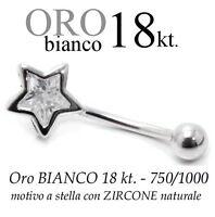 Piercing Ombelico Belly Oro Bianco 18kt. A Stella Con Zircone Taglio Brillante -  - ebay.it