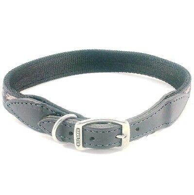 "HAMILTON Nylon Dog Collar w/ Leather Ends, 20"" x 1"", Black w/ Southwest Overlay"