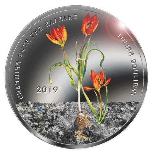 Greece 5 Euro 2019 Tulipa Goulimyi Uncirculated coloured coin in Blister