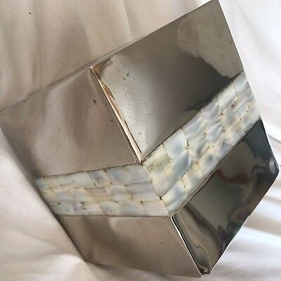 Chrom Tissue Box Cover (Maitland Smith style Tissue Box Cover Tessellated Mother of Pearl-Chrome Finish)