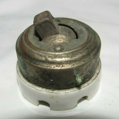 Antique vintage round toggle light switch metal & porcelain