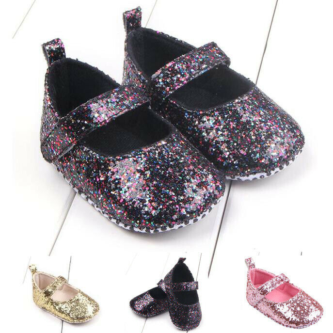 Fashion Toddler Girl Soft Sole Crib Shoes Sequins Sneaker Ba