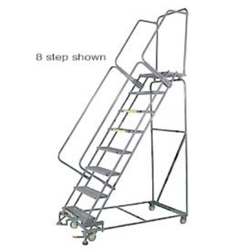"""New! 11 Step 24""""wx89""""d Stainless Steel Rolling Safety Ladder-serrated Grating!!"""