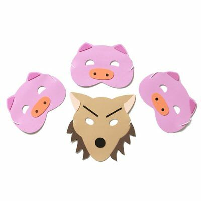 4 Foam Masks - 3 Little Pigs & Wolf - For Story Telling - Childrens Masks](Pig Masks For Kids)