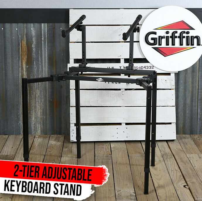 Double Piano Keyboard Stand - 2Tier Studio Stage Mixer Laptop Mount DJ Turntable