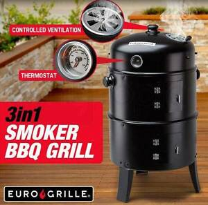 3in1 Charcoal Smoker BBQ Grill Roaster Portable Steel Brand New Adelaide CBD Adelaide City Preview