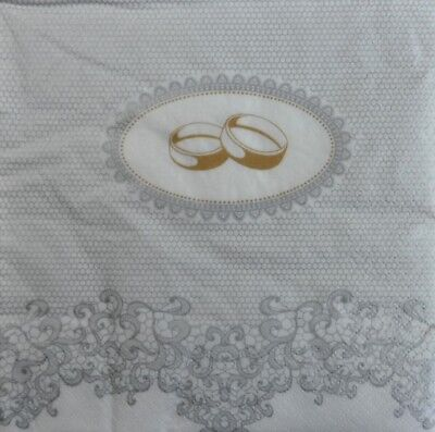 4 x Single Paper Napkins Weddings Rings Silver Lace Decoupage and Crafting b7