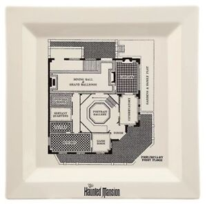 1 NEW Disney Store Parks Authentic The Haunted Mansion Blueprint Dinner Plate HM