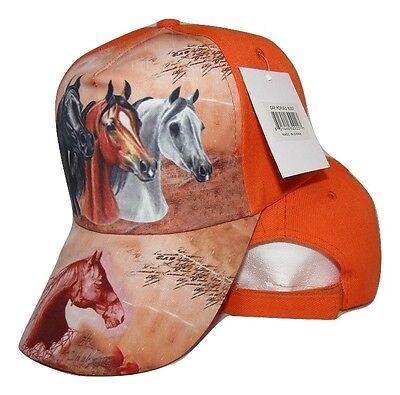 Three Horse Head Neon Orange Printed Baseball Cap Hat - Horse Hat