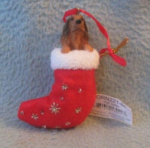IRISH SETTER DOG INSIDE STOCKING CHRISTMAS ORNAMENT CO1
