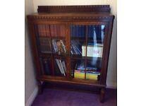 Antique Solid Oak Edwardian Glazed Bookcase Display Cabinet