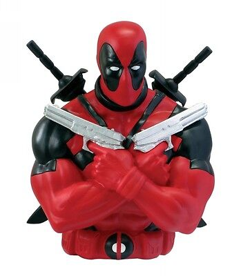 "DC Comics Deadpool Boy's Black & Red 8"" Monogram Bust Bank"