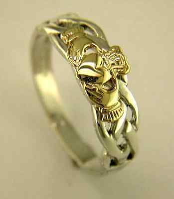 Silver and 14 Carat Gold Irish Handcrafted Claddagh and Celtic Design Ring G263