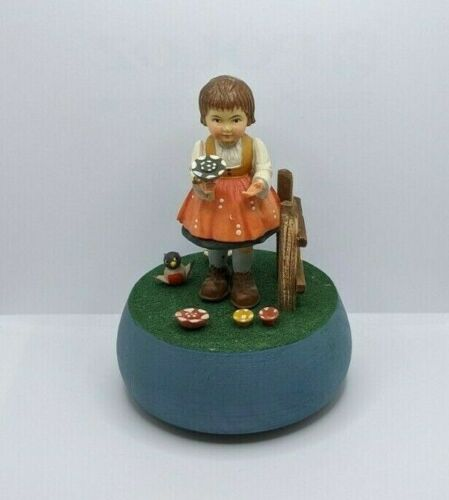 Anri Music Box - Girl With Flowers - Reuge Swiss Midcentury Vintage