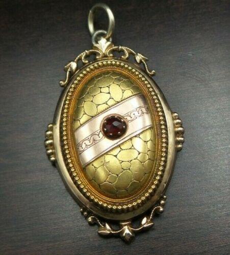 Ornate Antique Victorian Gilt Sterling Silver & Garnet Mourning Locket Pendant