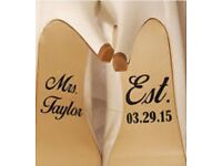 Personalised Wedding Bride Shoes Decal Sticker