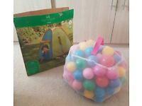 Kids Outdoor Pop Up Tent and Plastic Balls