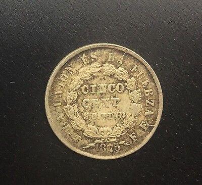 BOLIVIA 1875 FE  5 CENTAVOS SILVER KM157.1 NICE ORIGINAL COIN