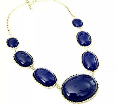 J. Crew Women's Graduated Bold Blue Oval Cabochon Necklace NIB 59.50