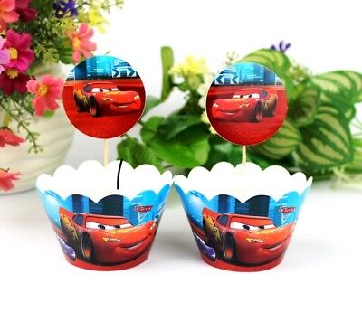 24pcs Cars Cupcake Wrappers(12) And Toppers(12) Happy Birthday Party Decoration - Cars Cupcakes
