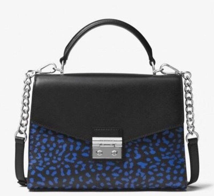 Genuine Michael Kors Blue And Black Leopard Print Handbag