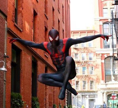 US! Spiderman Costume Ultimate Miles Morales Superhero Zentai Halloween Cosplay (Halloween Costume Spiderman)