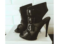 OFFICE real leather black buckle boot heels size 4