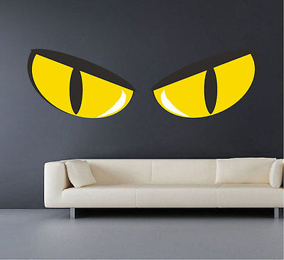 Halloween Cat Eyes Windows (Scary Eyes Wall Decals Wallpaper Cats Halloween Seasonal Decorations Vinyl,)