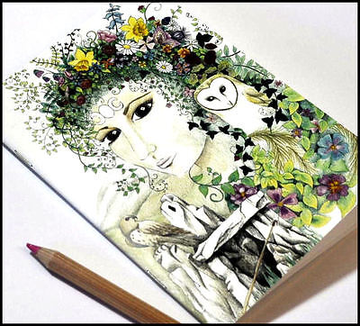 Gorgeous pretty A5 notebook, sketchbook, travel book Blodeuedd goddess flowers