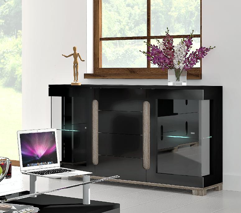 Lorenz High Gloss Black Sideboard TV Unit Tall Display Cabinet Storage Unit eBay