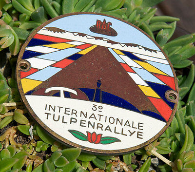 VINTAGE AUTOMOBILE CAR BADGE # RAC WEST INT. TULIP RALLY HOLLAND / NETHERLANDS, used for sale  Shipping to Canada