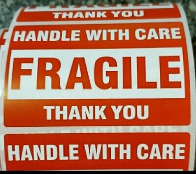 Fragile Handle With Care Thank You 2x3 Red Sticker 100 Labels