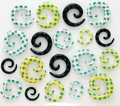 1-PAIR Marijuana Pot Leaf Spiral Ear Plug Tapers Gauges White Yellow -