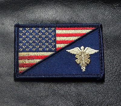 MEDIC EMT EMS USA FLAG SUBDUED TACTICAL COMBAT MORALE VECO HOOK PATCH