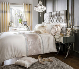 cream colour silver stylish velvet diamante duvet cover luxury beautiful bedding ebay. Black Bedroom Furniture Sets. Home Design Ideas