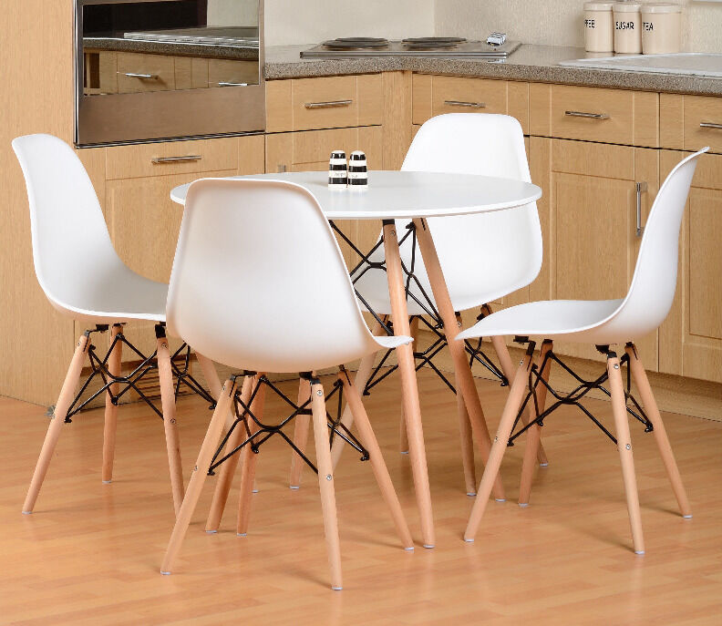 NEW Tegan Eames Dining Set Round Table 4 Chairs White Wood in