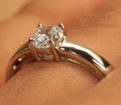 USA 0.50Ct Round DIAMOND 18K White GOLD Finish Woman Solitaire Ring Engagement