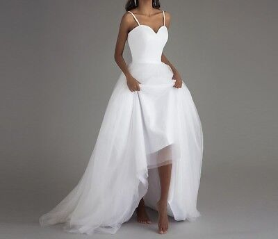 Spaghetti Strap Wedding Dress Simple Long Tulle Bridal Gown 2 4 6 8 10 Us Seller