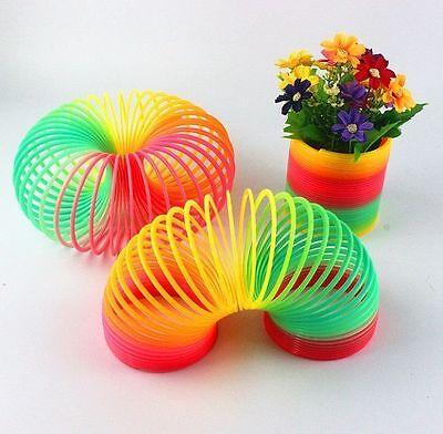 Glow in Dark Walking Rainbow Spring Toy Gift Circle Slinky Stretchy Coil Fun KM