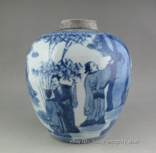 Nice Chinese Old Blue and White Character Story Porcelain Jar Vase tank  5.8""