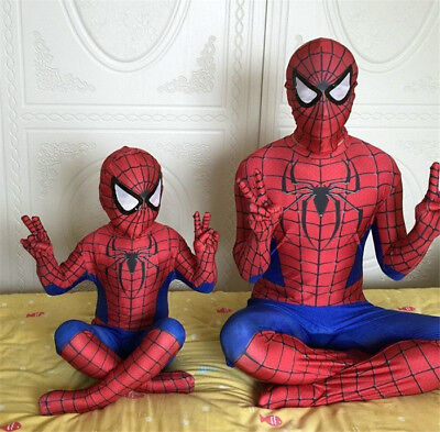 Halloween Costume Party Clothing Spider Man Compession Jumpsuit For Kids/ Adults