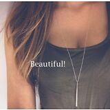 Women Silver Long Chain Lariat Drop Charm Bar Necklace Jewelry Pendant Layering