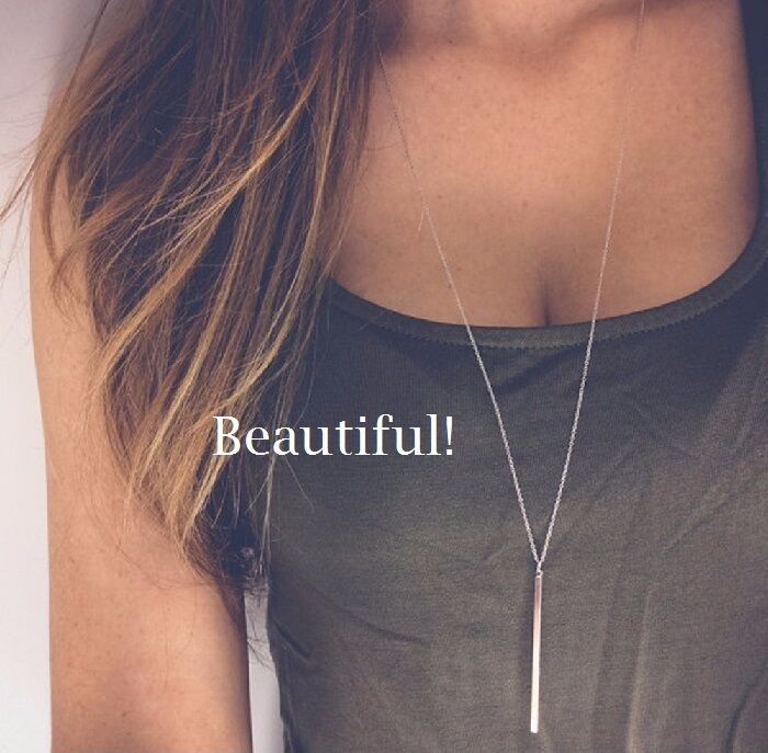 Necklace - Women Silver Long Chain Lariat Drop Charm Bar Necklace Jewelry Pendant Layering