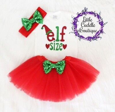 Elf Size Christmas Baby Tutu Outfit, Holiday Outfit, 1st Christmas Outfit - Elf Outfit Baby
